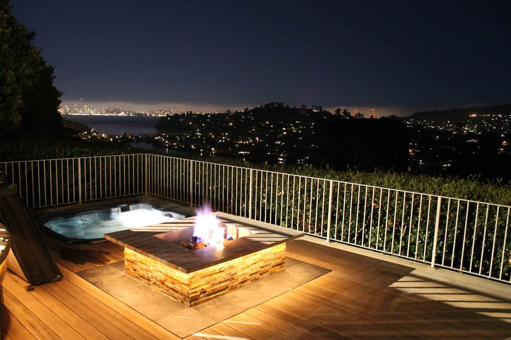 Fabulous night view of SF.  Firepit and jacuzzi make for an ideal, intimate evening.
