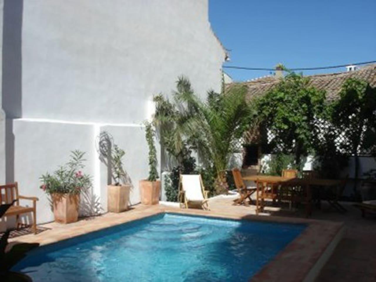 grote patio met prive zwembad