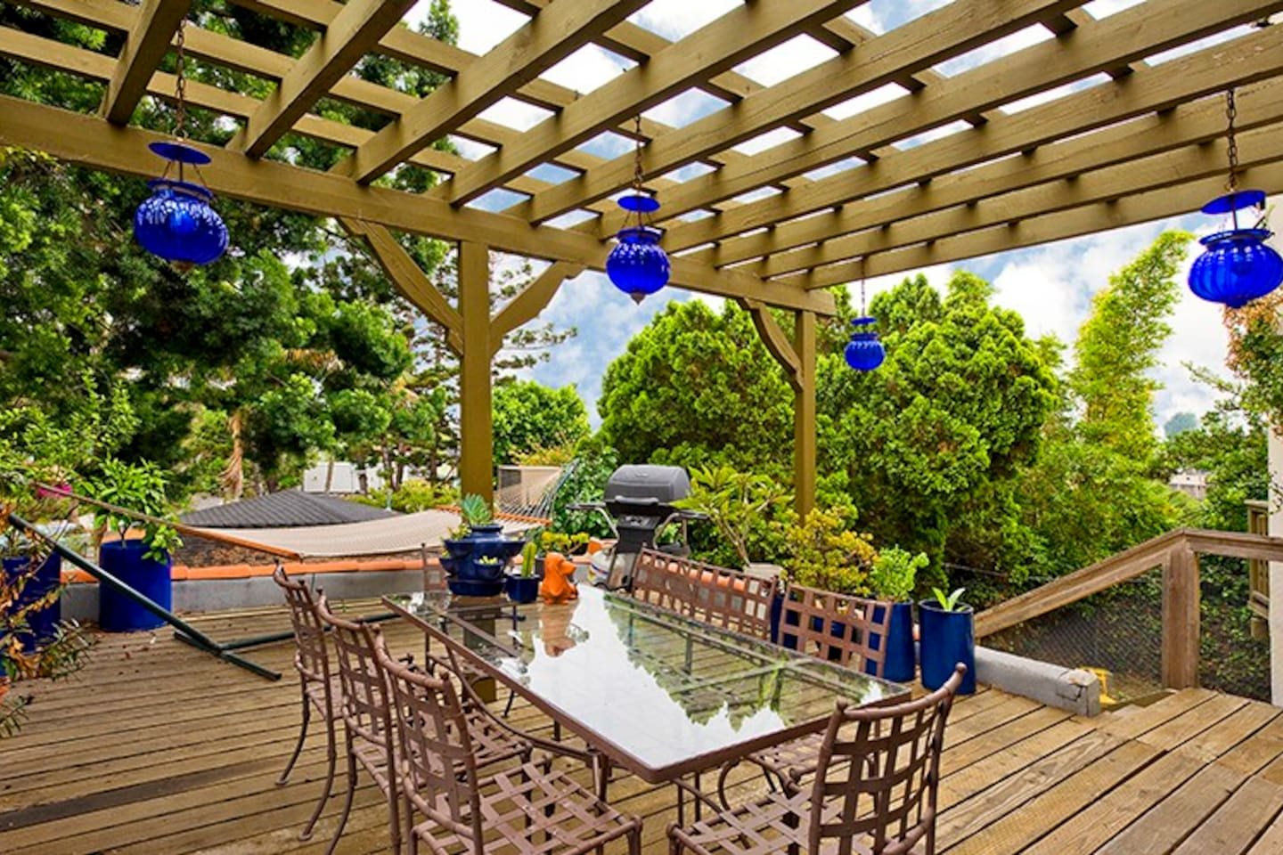 The sunny patio surrounded by plants -- with a hammock, seating for 8, and a grill.