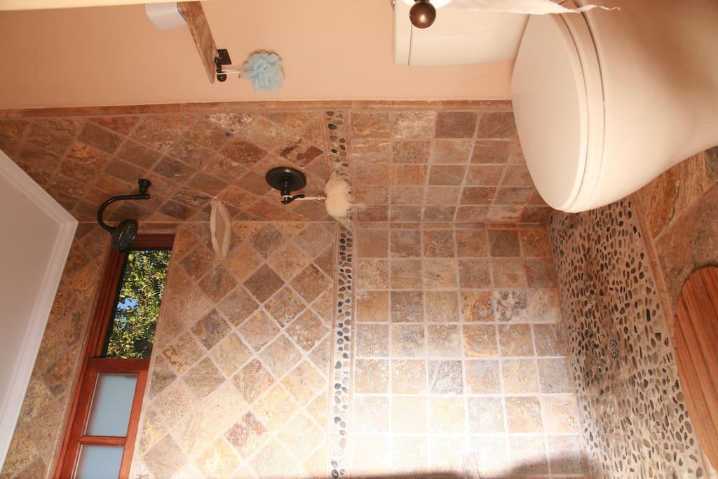 guest room bathroom italian shower natural stone