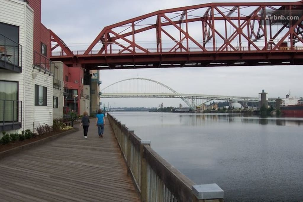 View from the Boardwalk looking towards the Broadway Bridge (the red one) with the Fremont Bridge in the distant