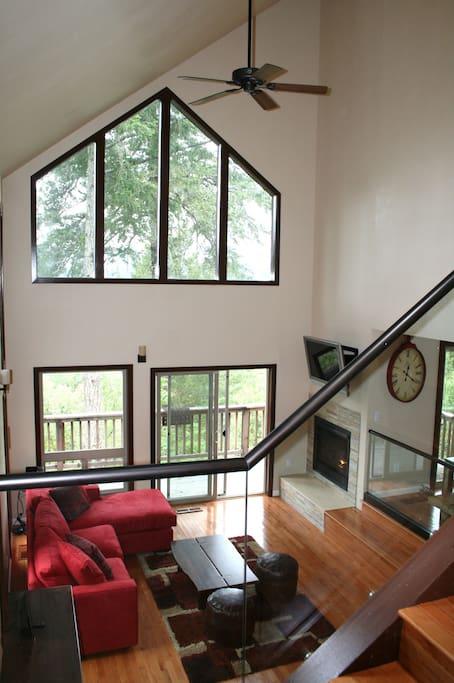 Chalet style windows at Modern & Hip Cabin