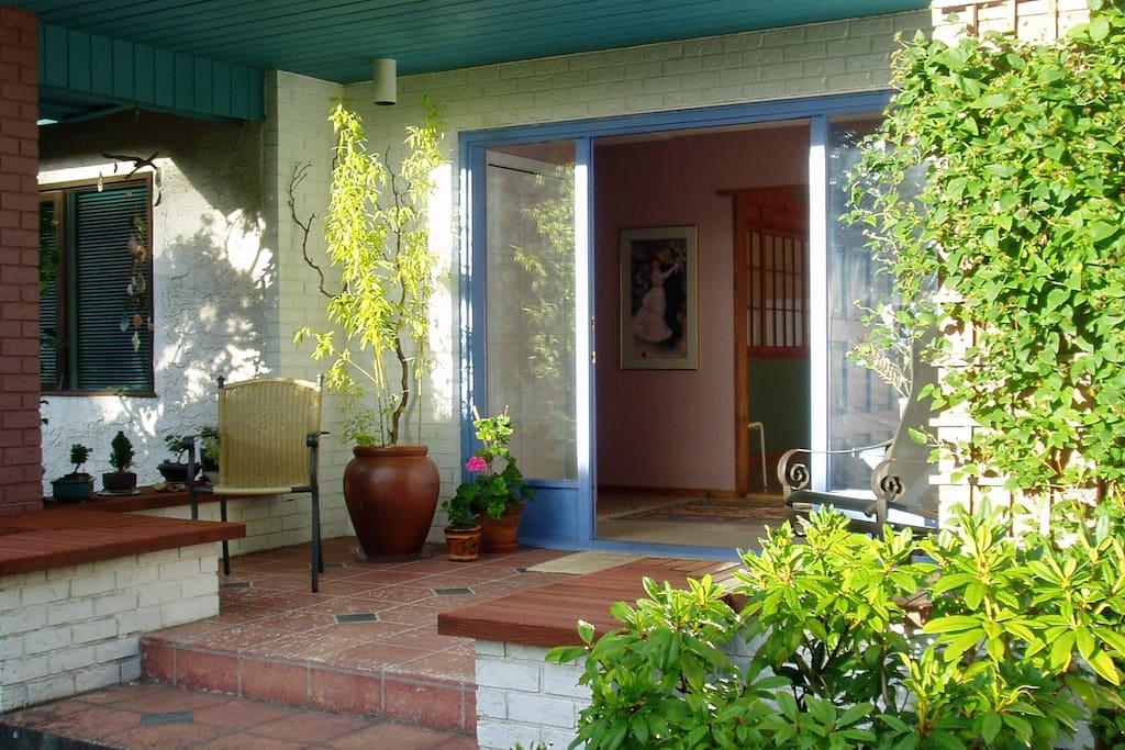 Pathway through front garden to Casa Miramar