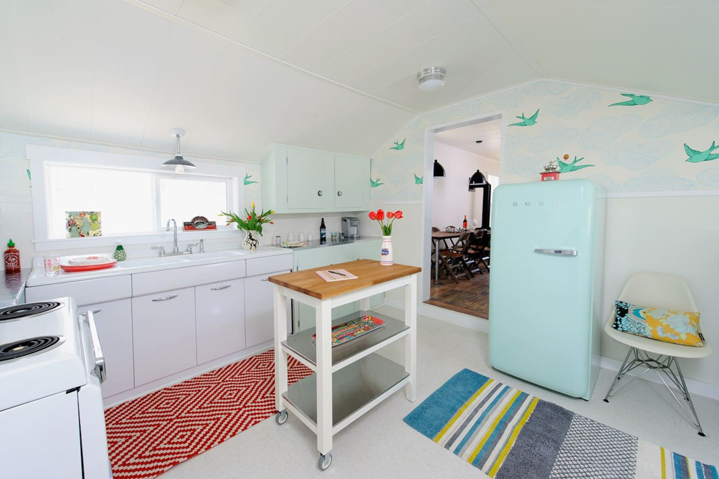 A bright, updated retro kitchen.