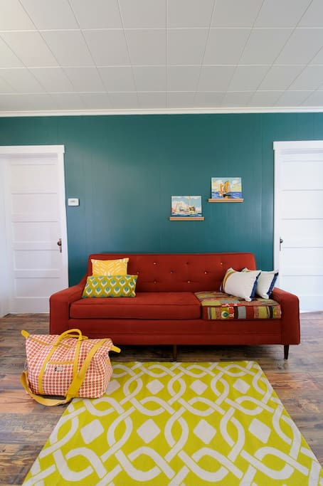 Fun colorful furnishings give the cottage an upbeat style.