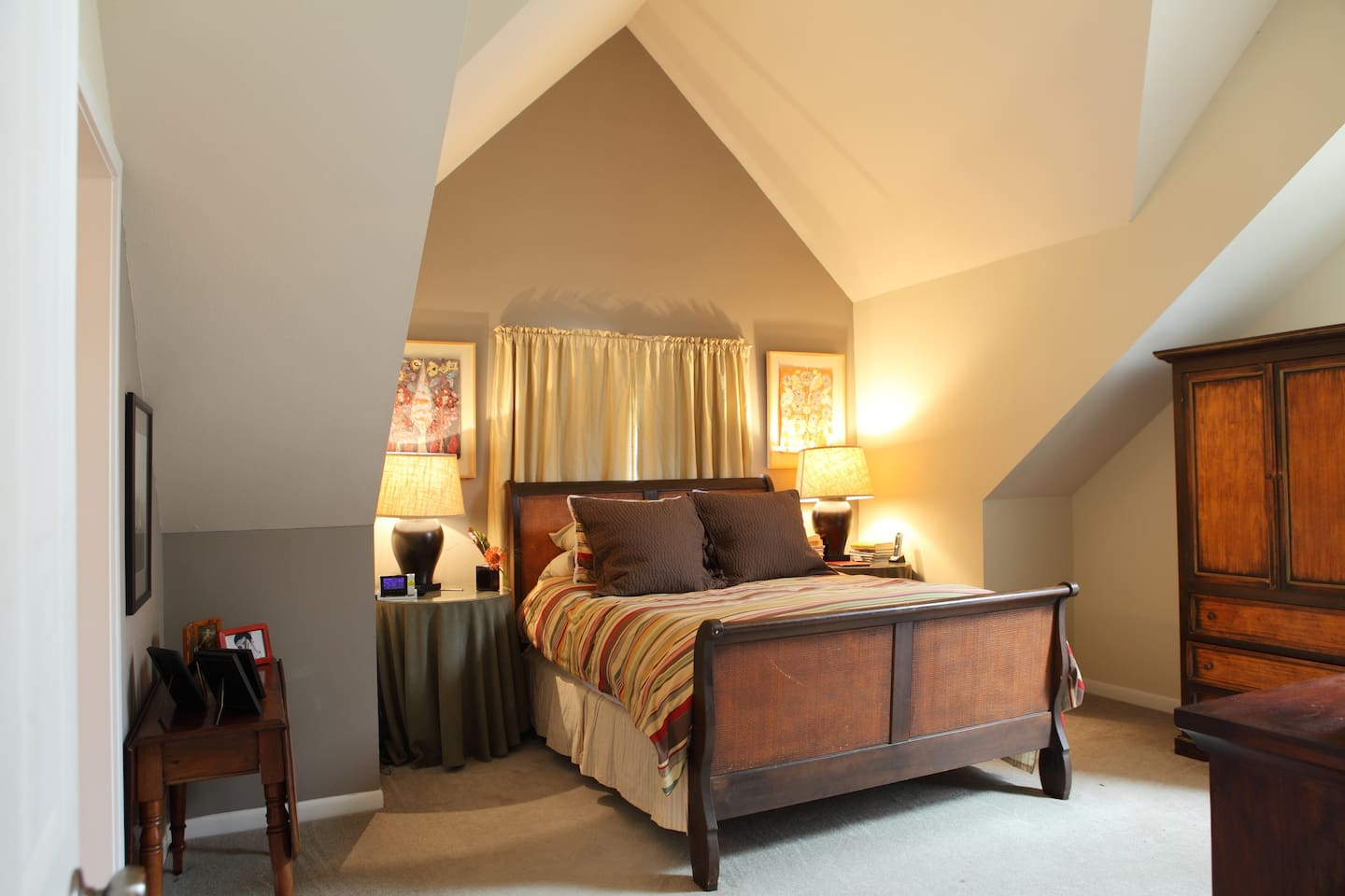 The Master Bedroom has 14 1/2 foot ceilings and a third level deck where you can relax outside.   It also includes a 46 HDTV