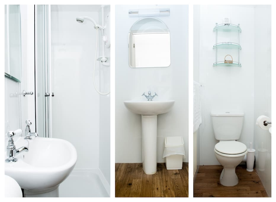 A small shower en-suite with all the usual facilities may be found in Claife Heights. Essential toiletries are provided. The light over the mirror includes a shaver socket. (Shaver lights and shaver sockets are provided in all our bathrooms.)