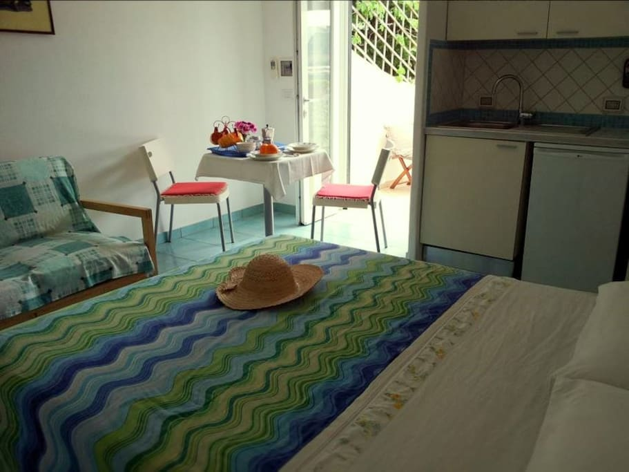 Self-contained with double bed, kitchenette and bathroom en-suite with a shower.
