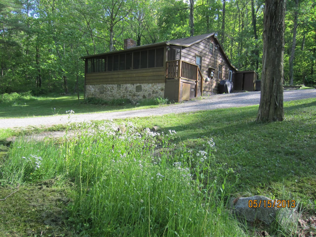 Lower Rawley Cabin in Spring before the farm animals and fence were added.