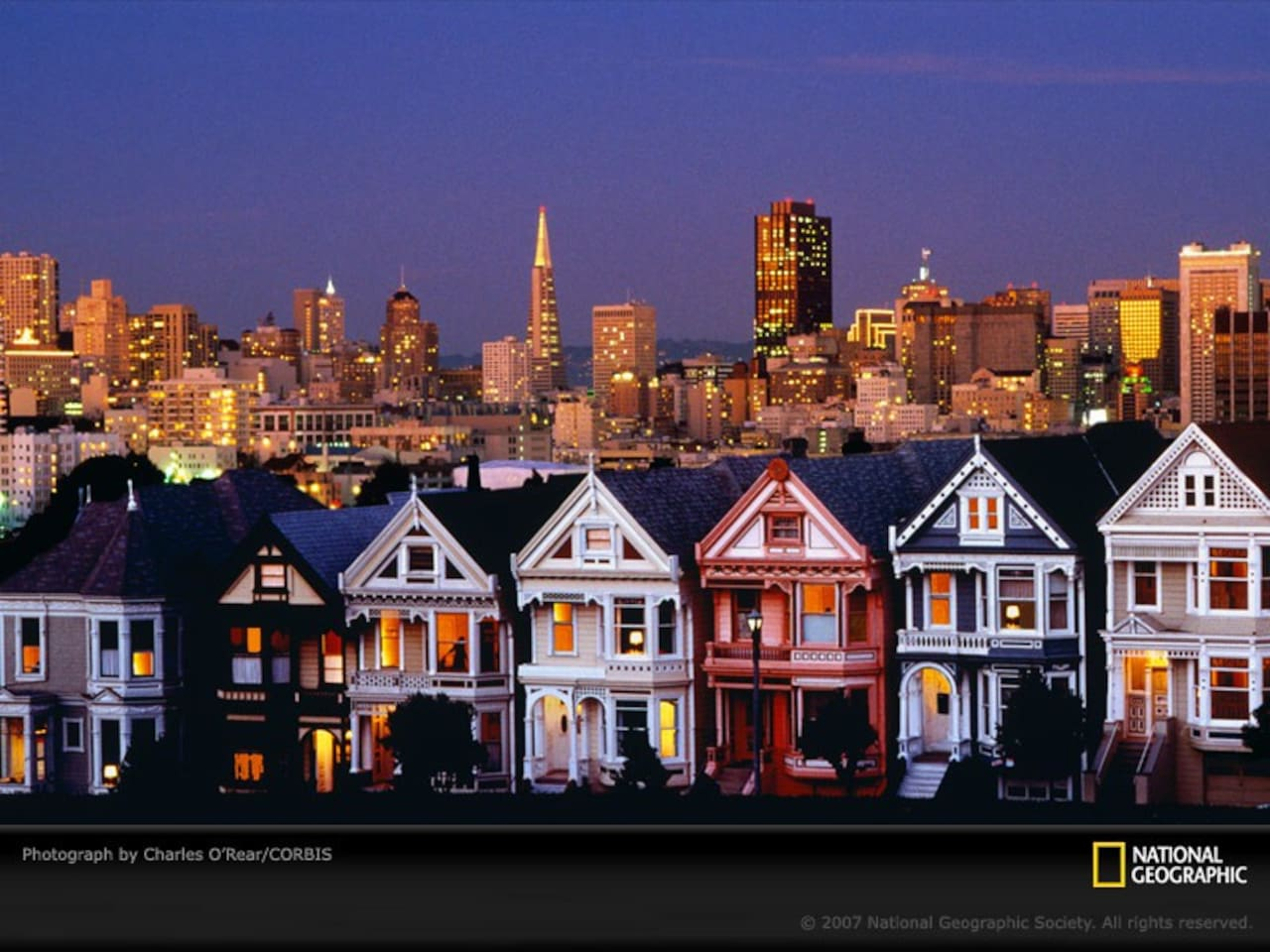 Alamo Square at night...