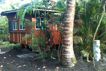 Kehena Black Sand Beach! Tropical Sanctuary in Big Island's most lush, private, exclusive, quiet neighborhood. Comfy King Size Bed for 2, and private Single in Parlor for 3rd guest. Swim, visit local Farmer's Markets, Yoga classes and Ecstatic Dance.