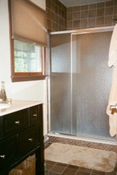 Guest Private Bathroom With Oversized Shower Stall -Fits 2! Tiled With Window to Back Lawn