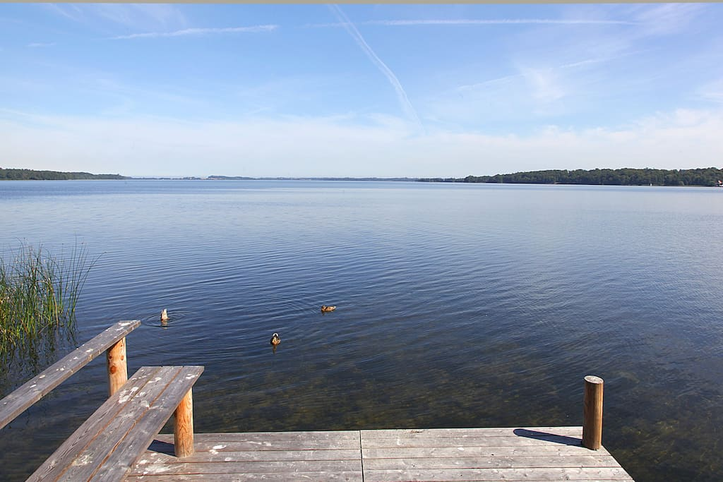 View of Esrum lake from private wooden pier