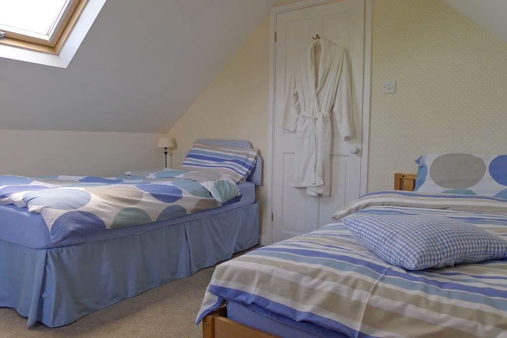 Latchmoor - upstairs to an airy twin room