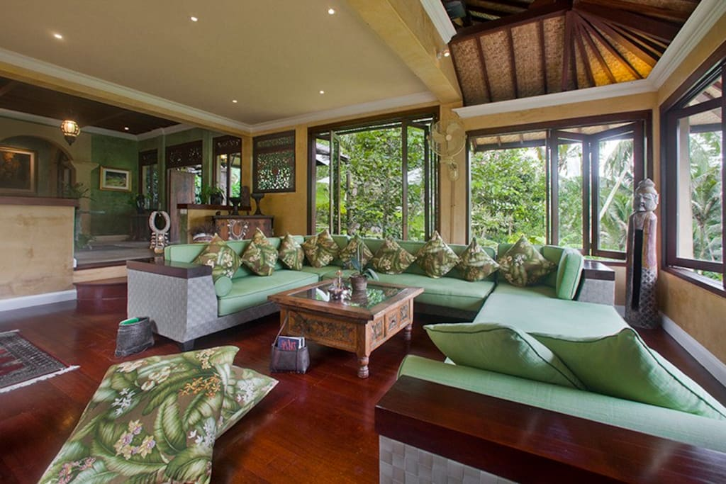 Living area with open window to feel the breeze