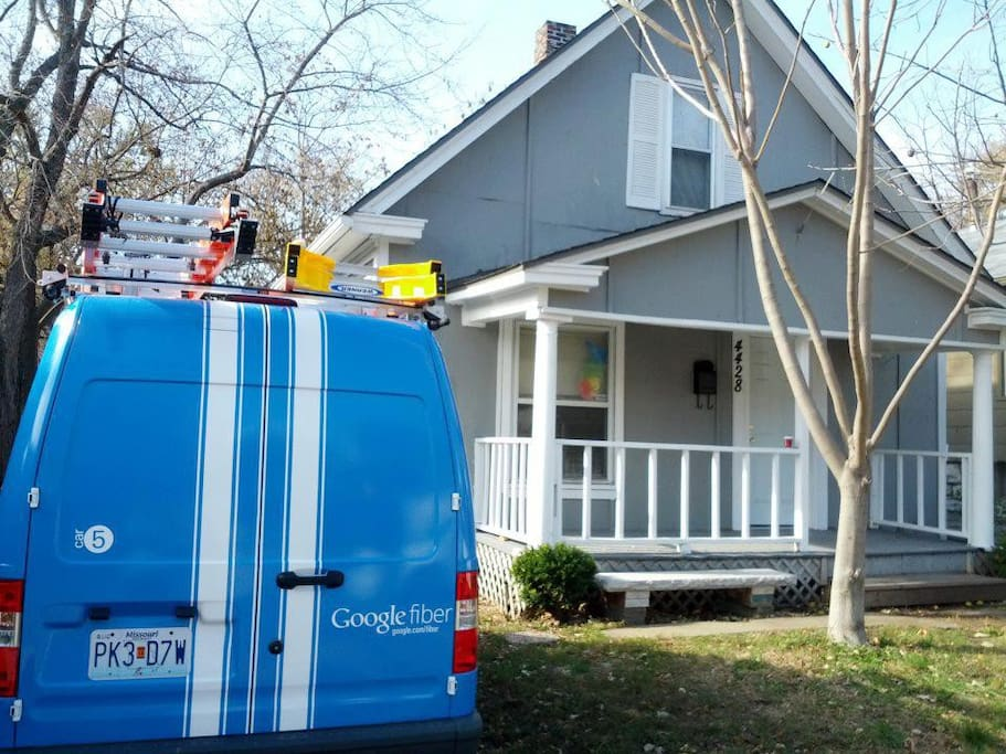 Google Fiber Install Day! Yay! Note the Google Fiber Rainbow Bunny in the window.