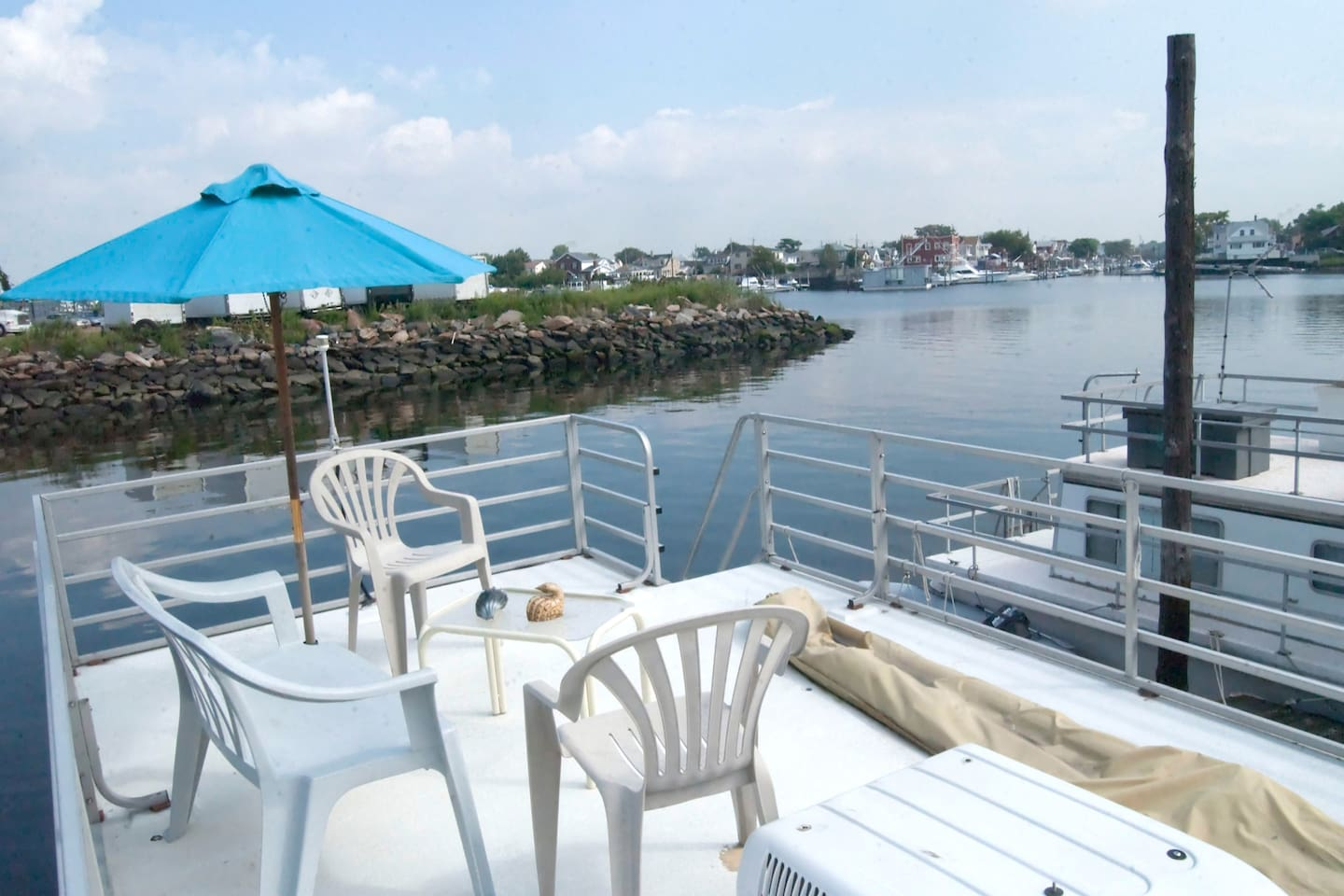 View from the houseboat's upper deck