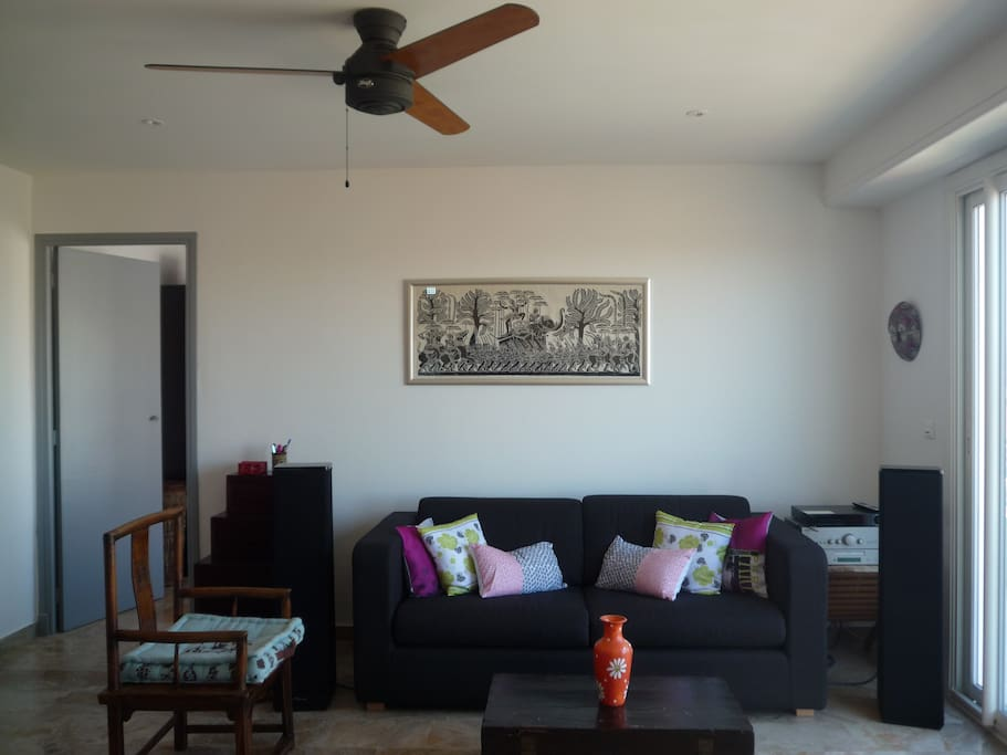 Cozy living room with ceiling fan