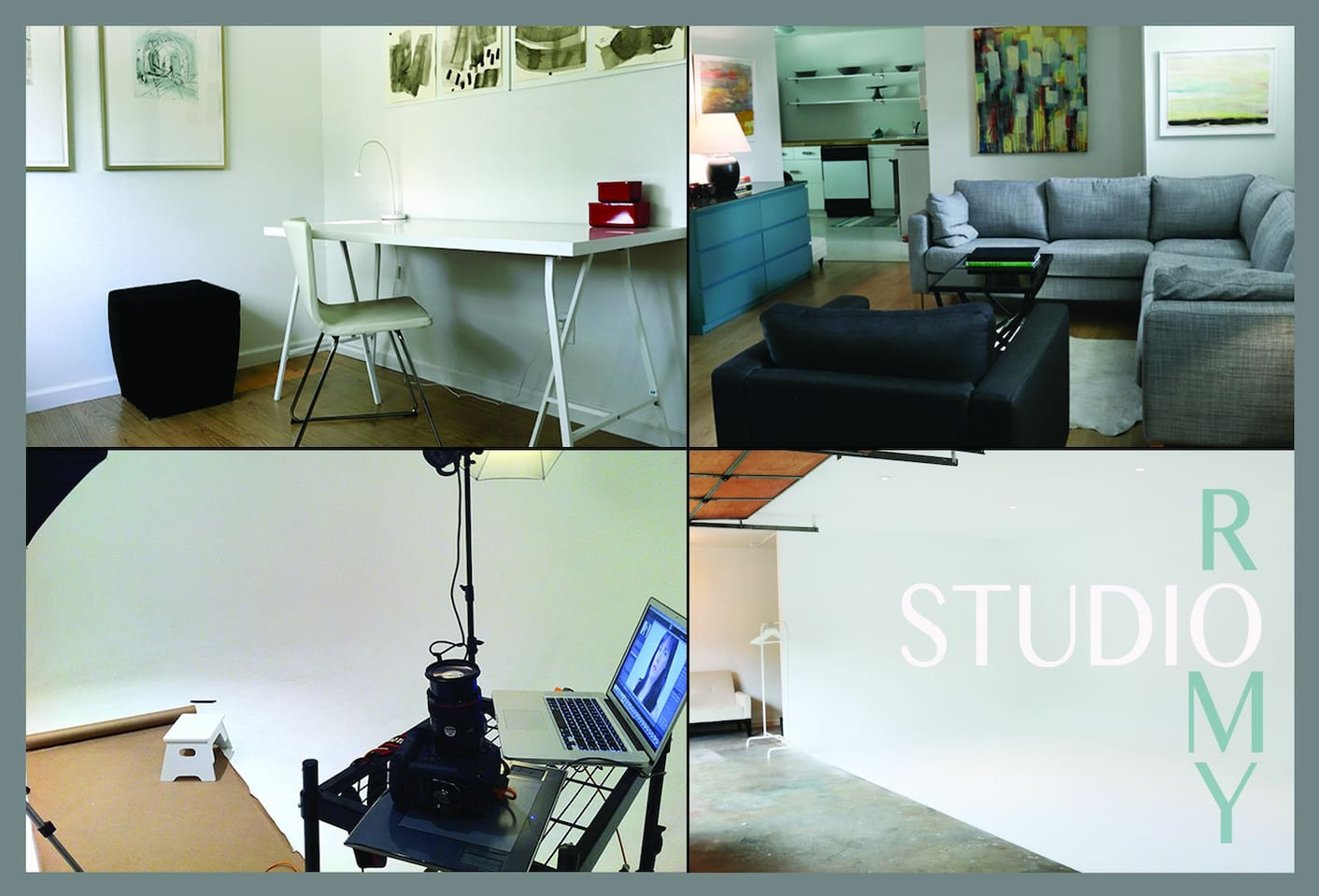 upstairs 1 of 2 offices and living room. Downstairs infinity wall, photography studio.