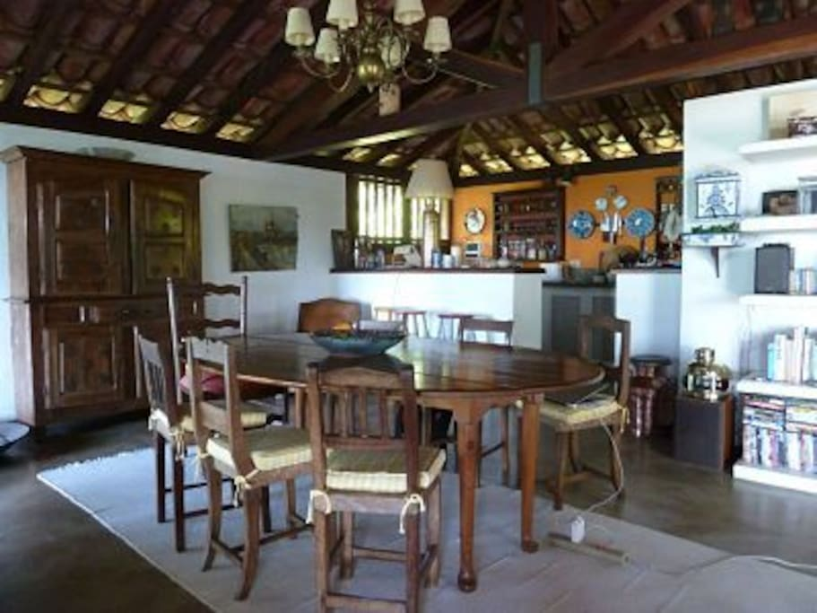 Dining room and the kitchen behind