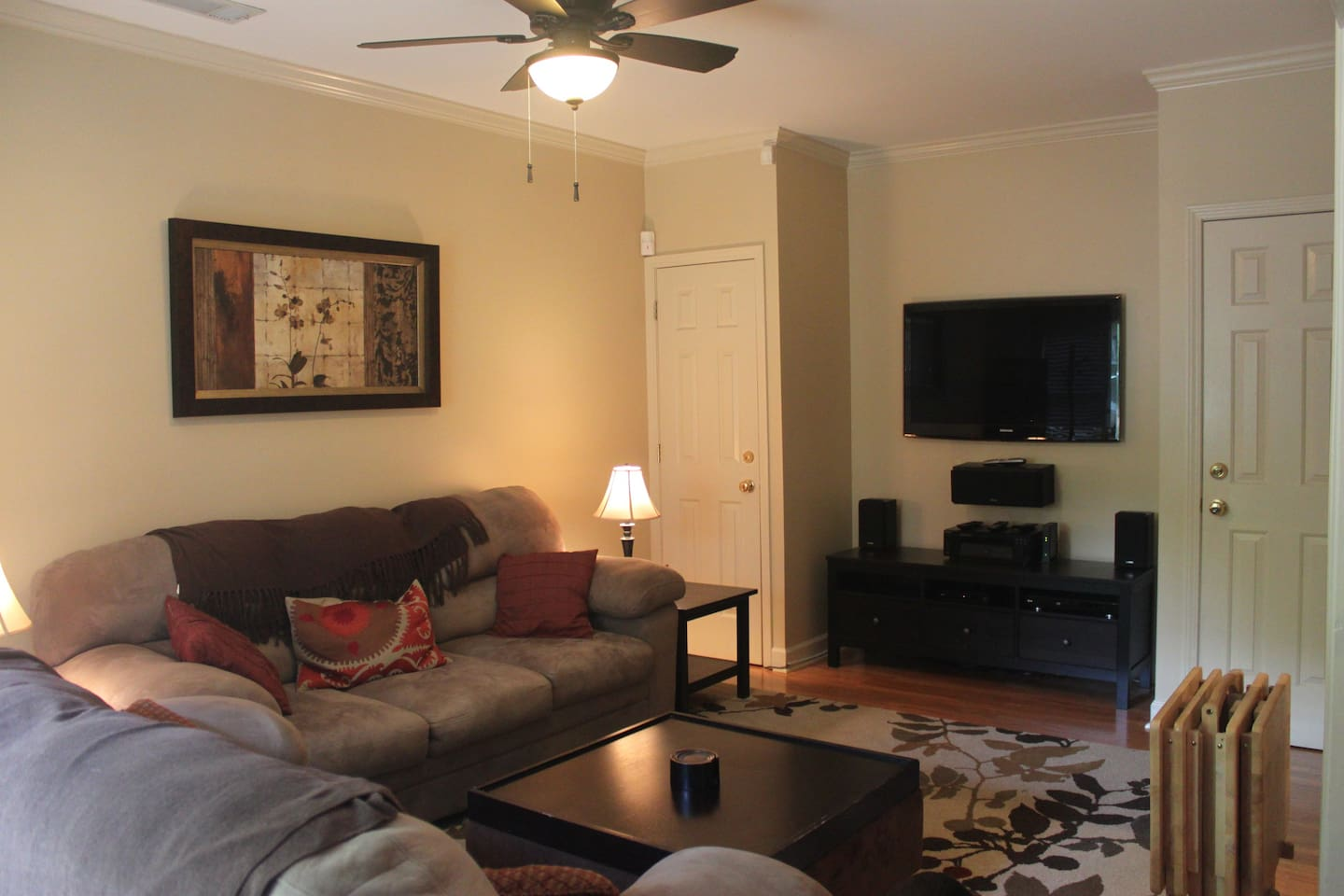 HDTV with surround sound available in living room