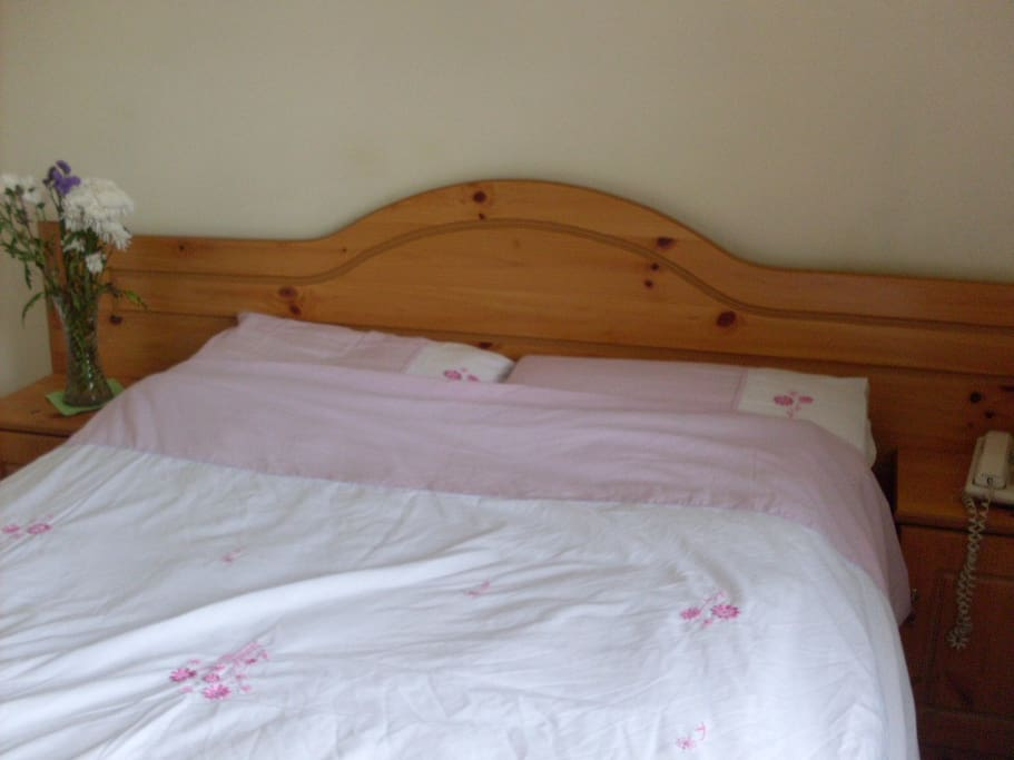 Double bed with lockers on both sides in a bedroom with wardrobe, and vanity mirror