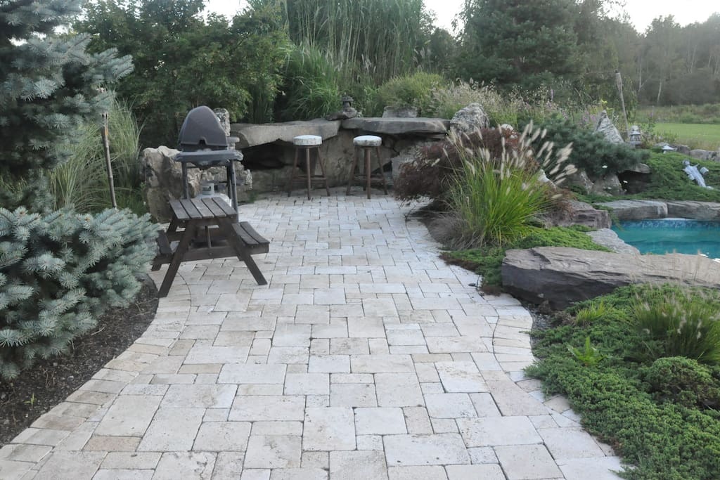STONE BAR:  Great for Playing Chess or Checkers. Have a Beer while BBQ'ing