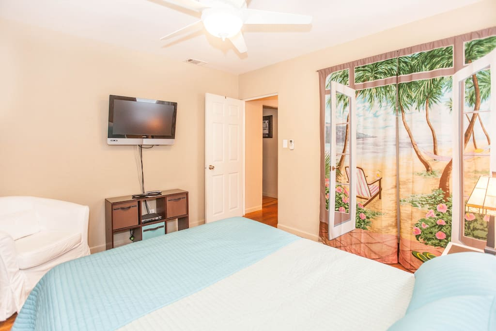 Newly Decorated Bedroom with fresh linens and paint.  Room has HD cable Television and Wireless Internet.