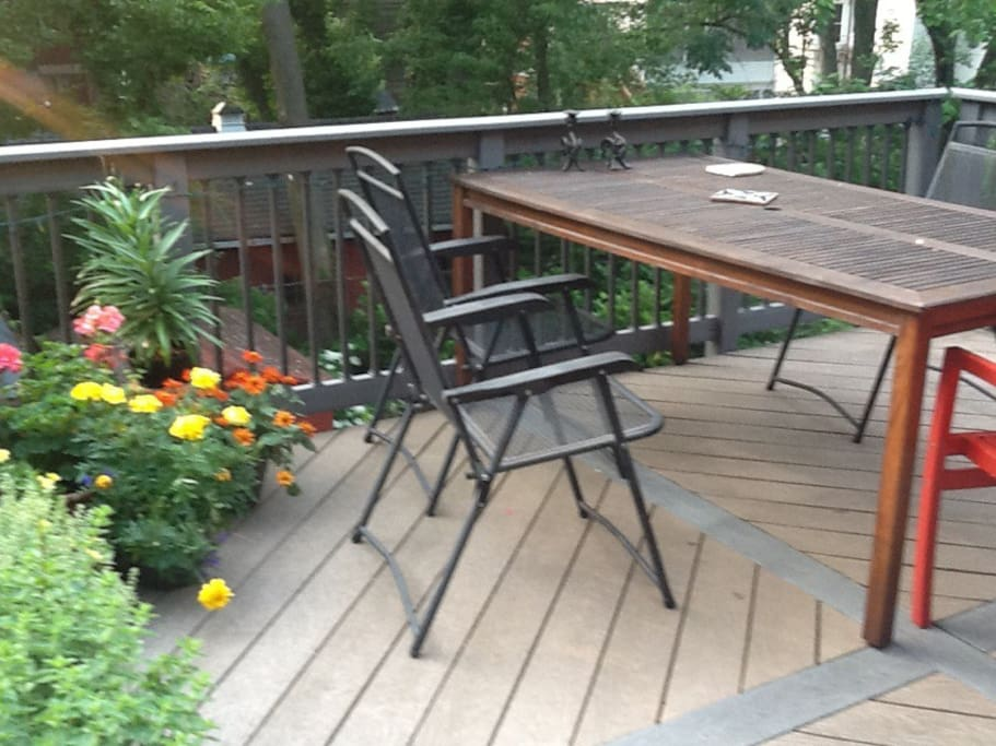 Deck w/ gas grill and herb garden