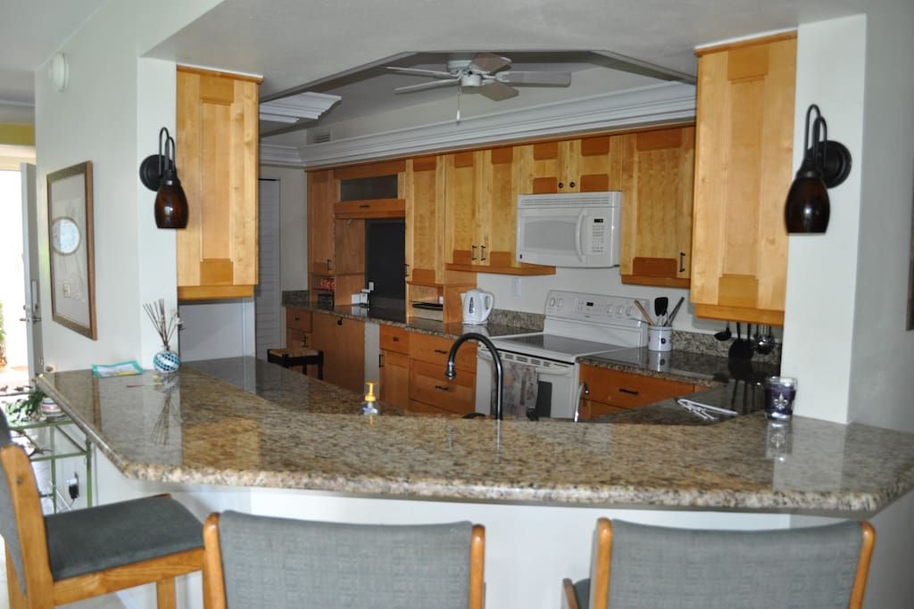 Newly remodeled kitchen.  View of water when at sink.