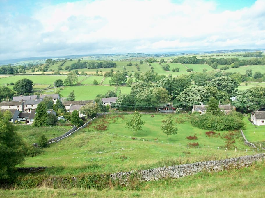 View from High Well looking over Taddington towards Ash Tree Barn