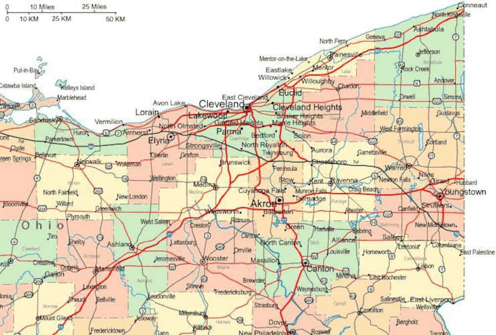 Map of Cleveland / Ohio.