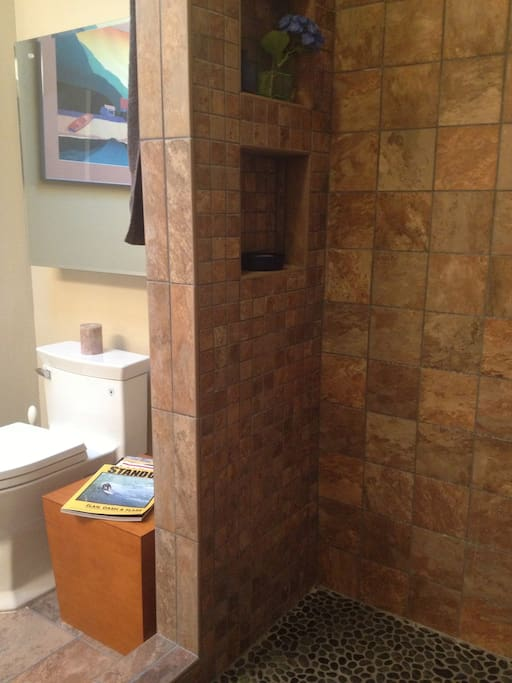 Natural tile. Rain shower head. Pebbles underfoot. Privacy. Skylight.