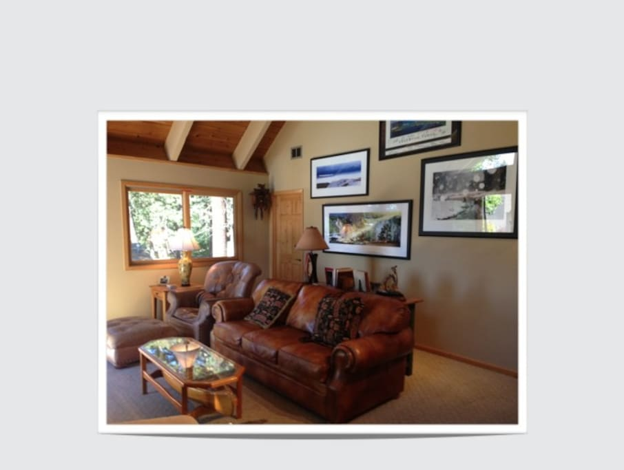 Another view of our living room with original Lake Tahoe and area art