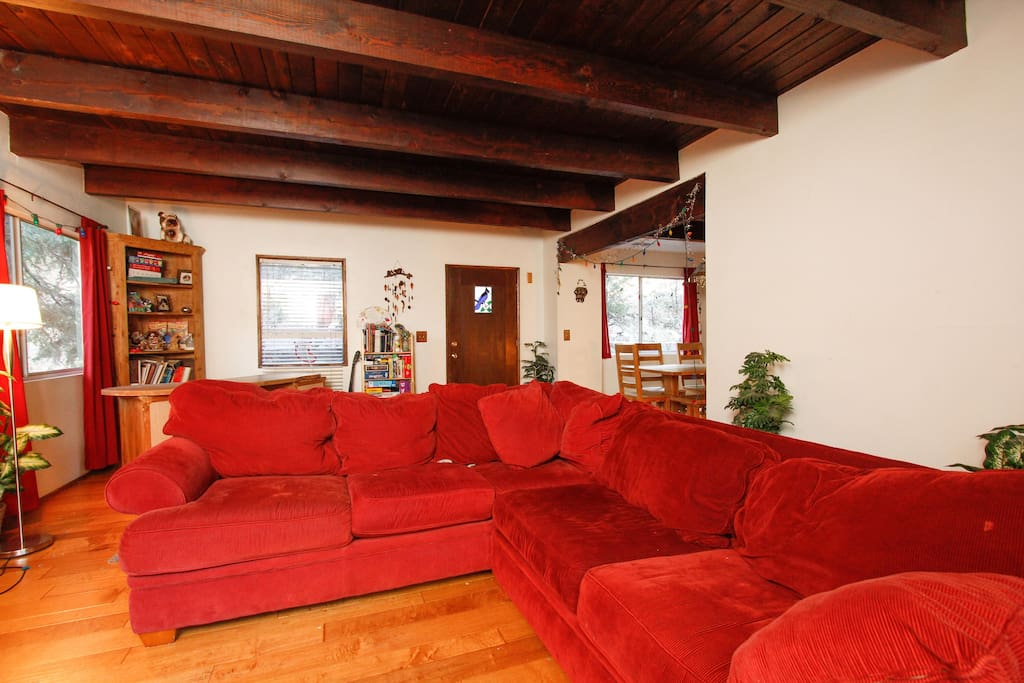 Big comfy couch for looking out at the beautiful forest, watching movies or enjoying the fireplace.