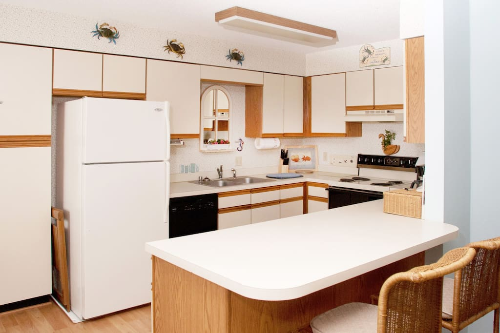 Fully Equipped Kitchen; Microwave, Toaster, Coffee Maker Hidden to Right
