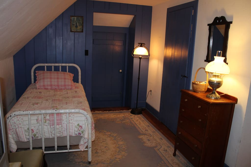 Blue Skylight room, accommodations for up to 3, with a queen and single bed.