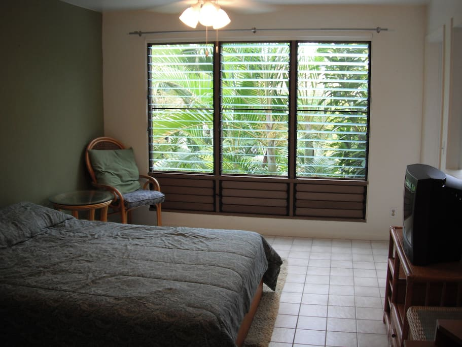 Bedroom with queen bed and view of palms through window