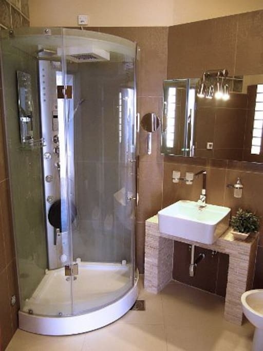 First bathroom with shower and sauna