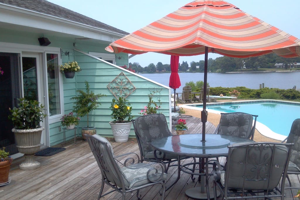 The Deck, great for your outdoor meals and relaxing by the pool.     ( photo taken this summer)