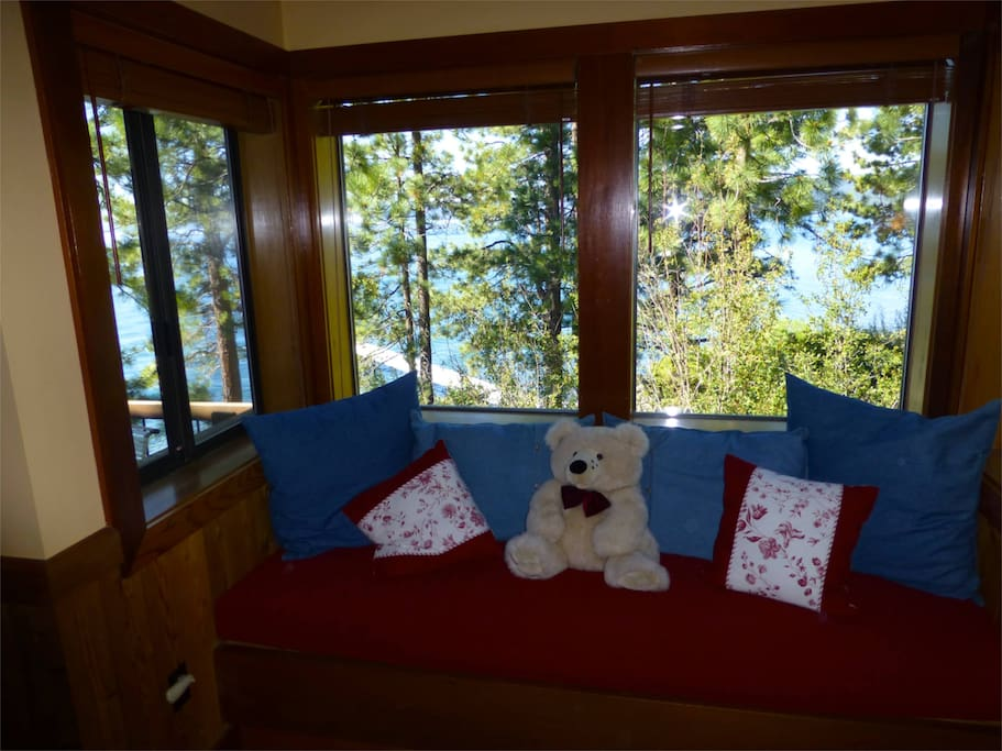 Window seat with view of Tahoe