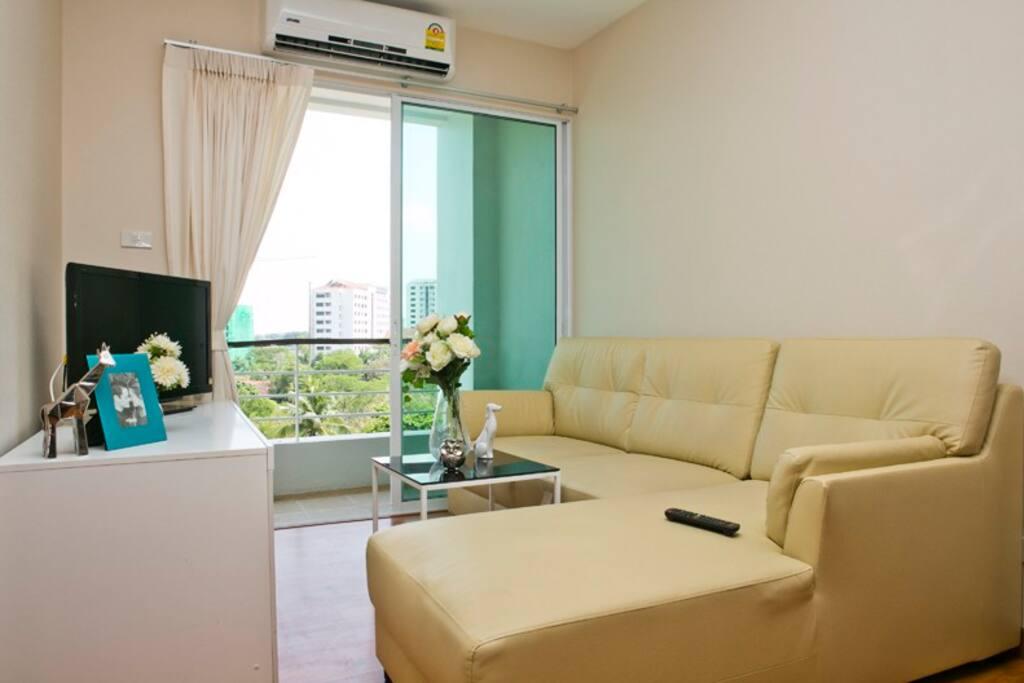 Living room and balcony.