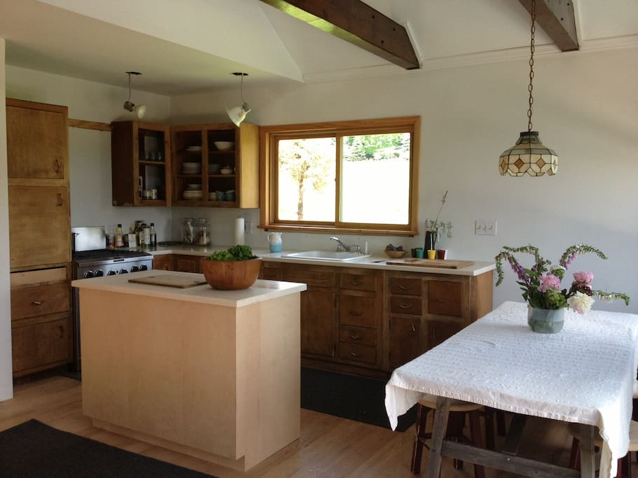the kitchen and dining table