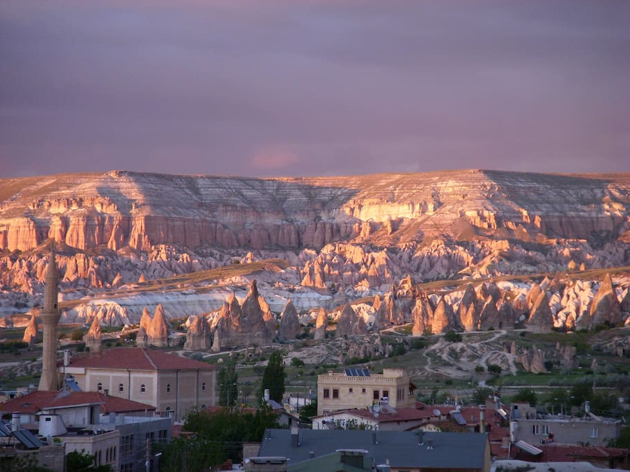 A view of Goreme at sunset.