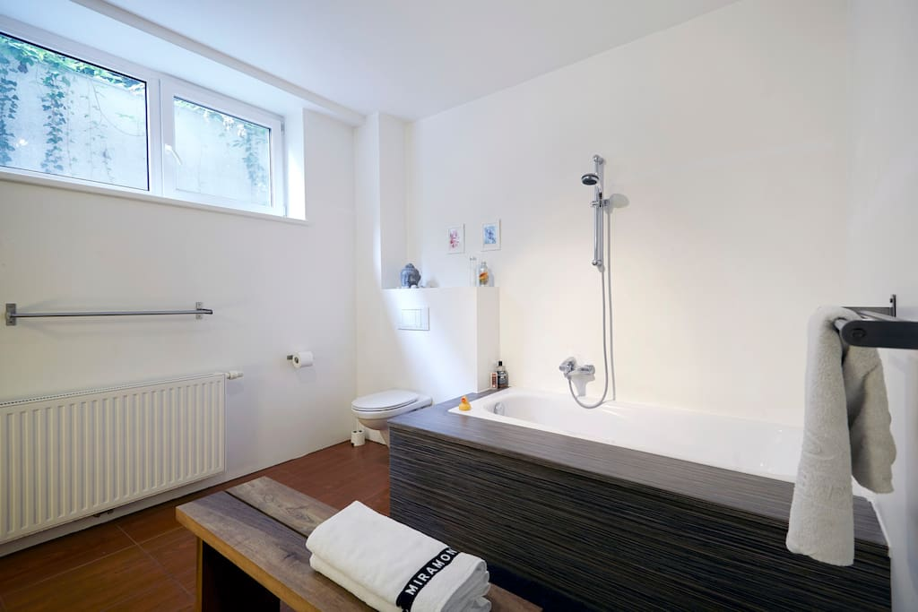 Bathroom with bath tub, shower and toilet