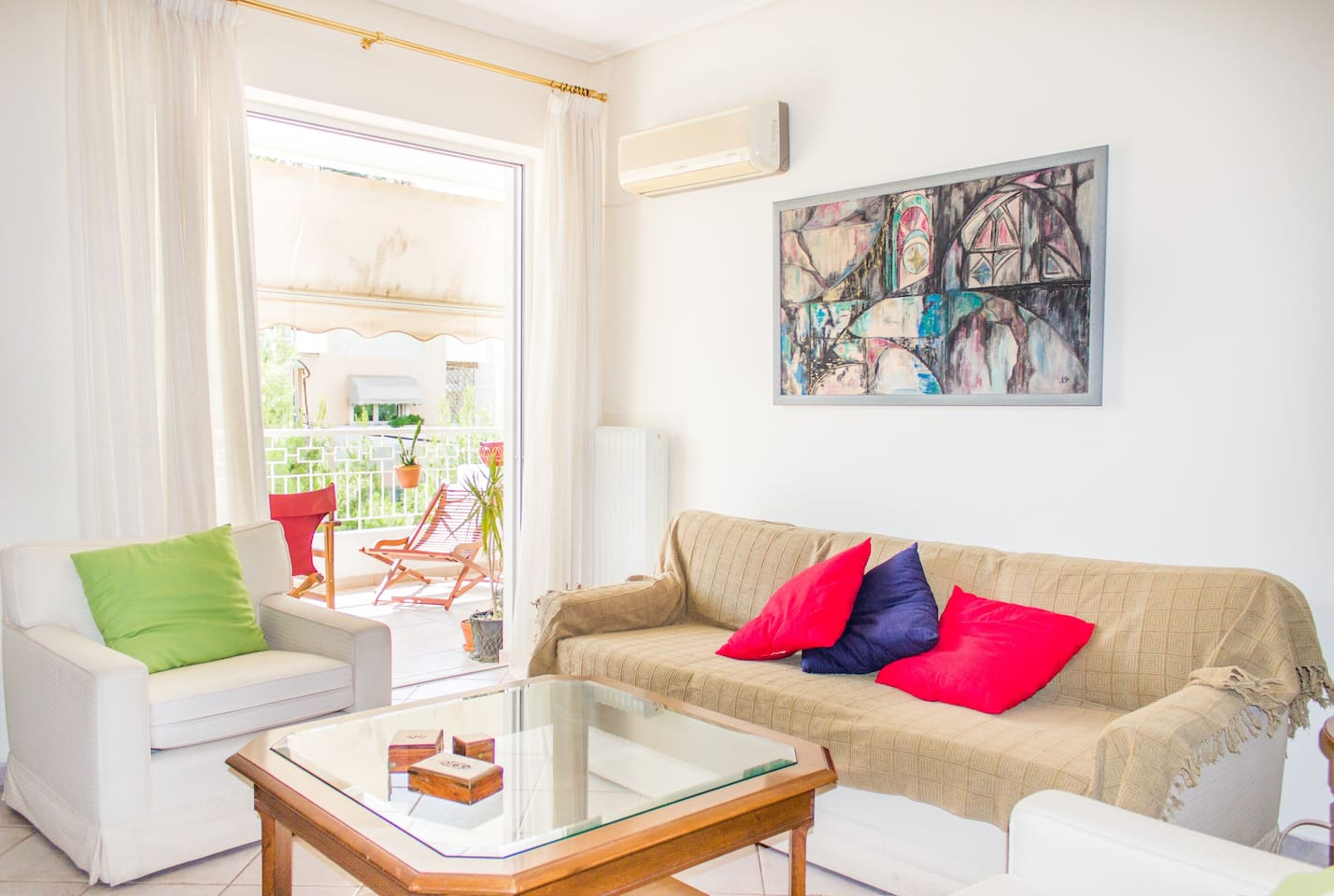 Sunny living room with big terrace