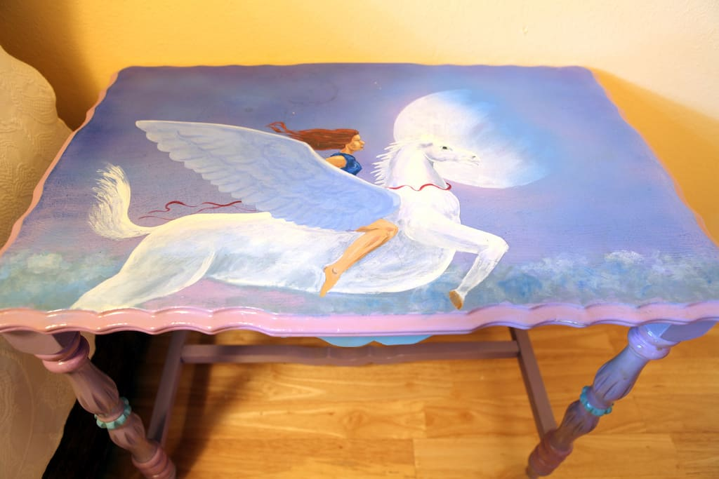 Small hand painted table in your room!