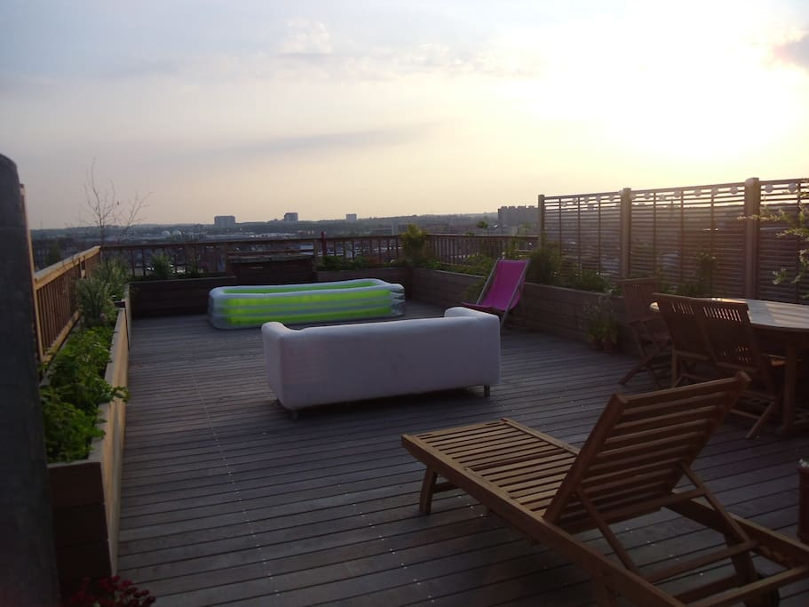 Terrace on the roof, evening
