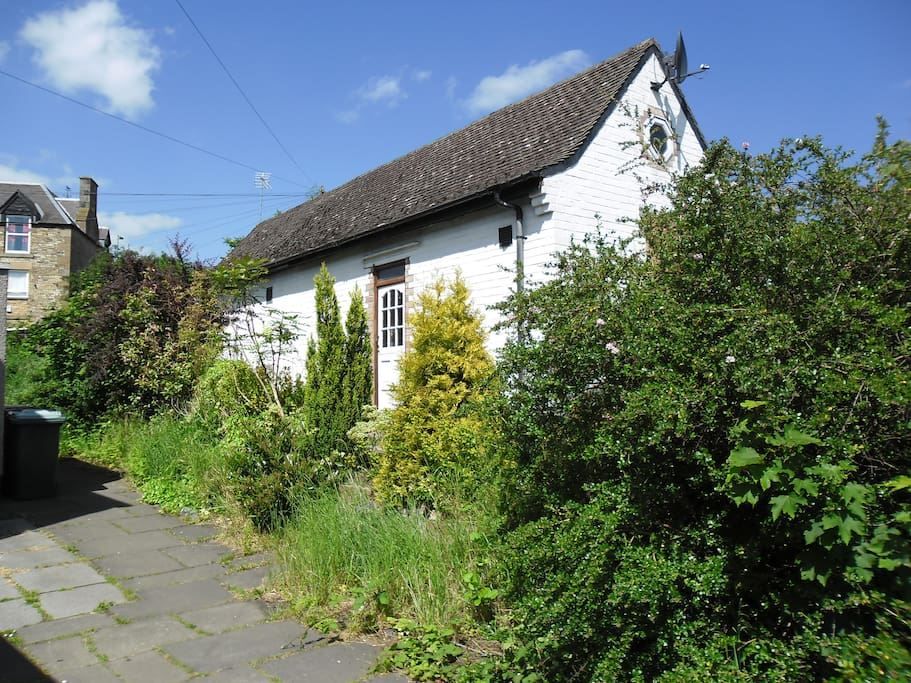 The outside of the cottage (the building is a former telephone exchange)