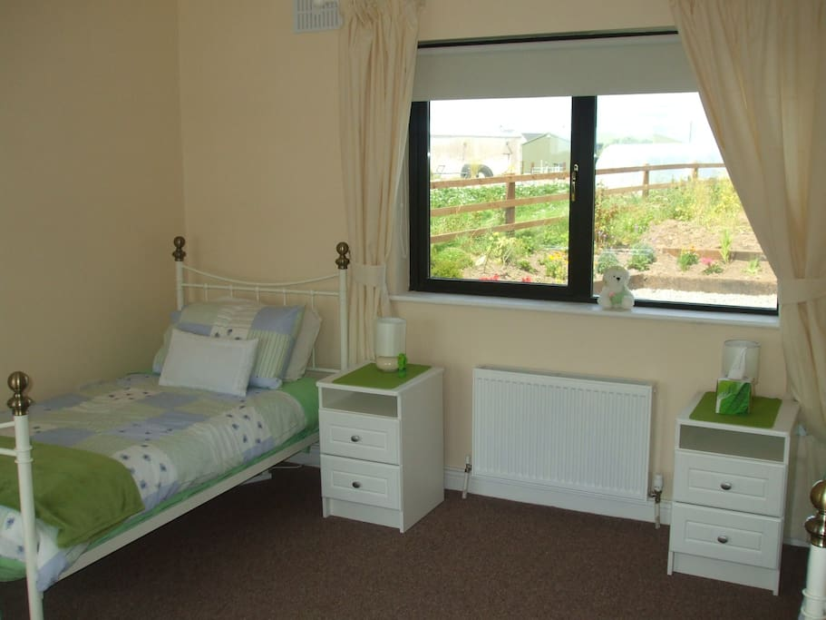 Bright and Spacious Twin Bedroom with TV for DVDs